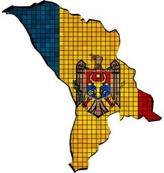 Moldova map with flag inside vector image
