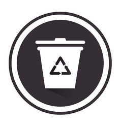 Monochrome circular emblem with trash container vector