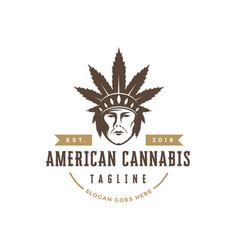 native indian american cannabis logo vector image