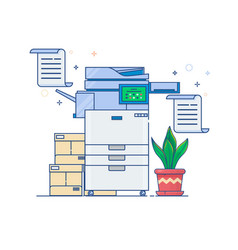 office multi-function printer scannerflat thin vector image