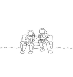 One single line drawing two young happy vector