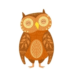 Owl Relaxed Cartoon Wild Animal With Closed Eyes vector