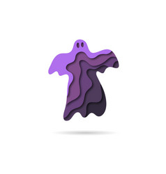 paper cut ghost backgrounds halloween template vector image