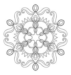 Paper cutout snow flake in zentangle style mandala vector