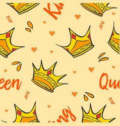 Pattern style crown theme collection vector