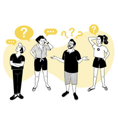 People with gestures of questioning emotion signs vector