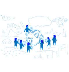 piggy box businessman put dollar coin money growth vector image