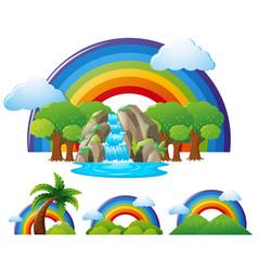 Rainbow over the waterfall vector