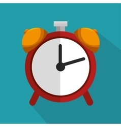 red clock time school icon blue bakcground vector image