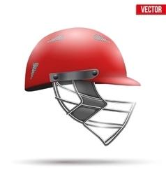 Red Cricket Helmet Side View vector