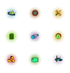 Renovation for machine icons set pop-art style vector image