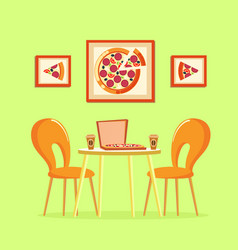 restaurant table italian pizza in box pizzeria vector image