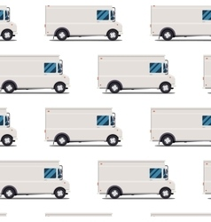 Seamless pattern of delivery trucks vector