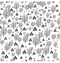 seamless pattern with contoures of flowers and vector image