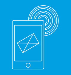 Send an email phone icon outline style vector