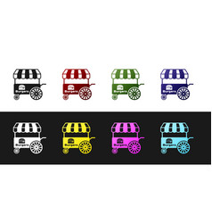 Set fast street food cart with awning icon vector