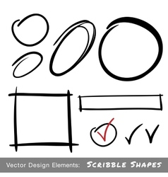 Set hand drawn scribble shapes vector