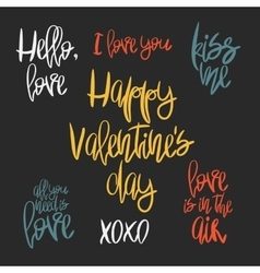 Set of 7 decorative handdrawn lettering vector