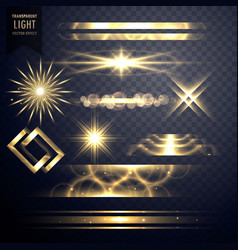 Set of light sparkles effect glitters and lens vector