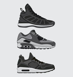 set sneakers design vector image