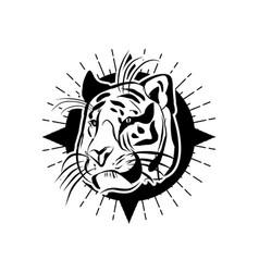 simple line tiger head vector image