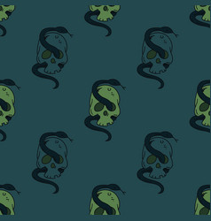Skull and snake seamless pattern vector