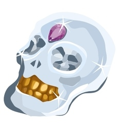 Skull of diamond with amethyst and gold teeth vector