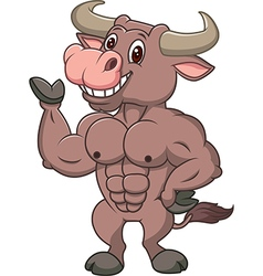Smiling bull mascot presenting islated vector