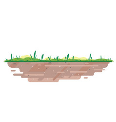 Soil with grass in flat style vector
