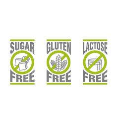 Sugar free gluten free lactose free vector