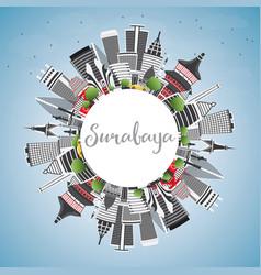 Surabaya skyline with gray buildings blue sky vector