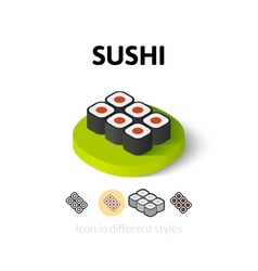 Sushi icon in different style vector image
