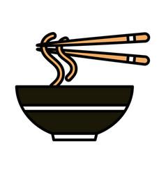 Sushi oriental menu noodles sticks and dish line vector
