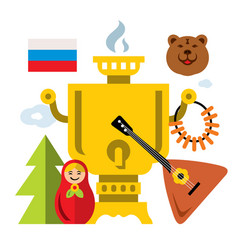 symbols of russia flat style colorful vector image