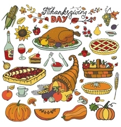 Thanksgiving dayDoodle food iconsColorful set vector