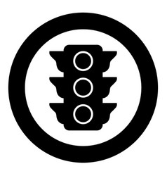 traffic light icon black color in circle or round vector image