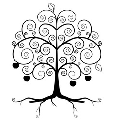Tree Symbol - Abstract Tree Silhouette Isolated on vector image