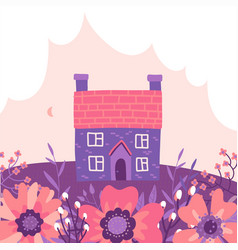 two story building with garden and cloud vector image
