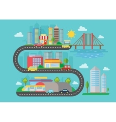 Urban modern city landscape on the s road vector image