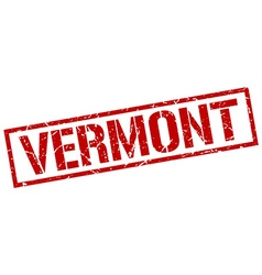 Vermont red square stamp vector image