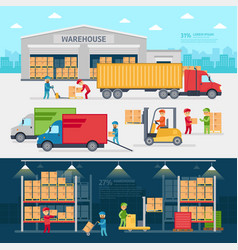 Warehouse infographic elements flat design vector