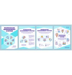 Warehouse management system brochure template vector