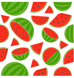 watermelon seamless pattern on white background vector image