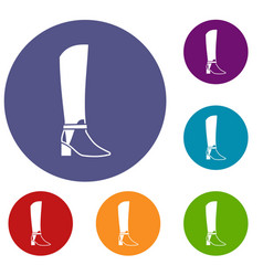 Women high boots icons set vector