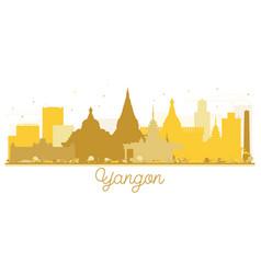 Yangon city skyline golden silhouette vector
