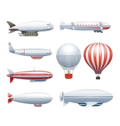 Dirigible airship white red icons set vector