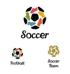 Hand drawn logo soccer ball and football boots vector image