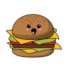 kawaii burger fast food icon vector image