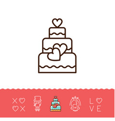 wedding cake icons bride and groom wedding card vector image vector image