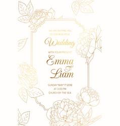 wedding invitation golder rose peony flowers frame vector image vector image
